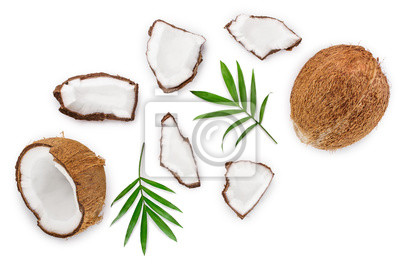 Tapeta coconut with leaves isolated on white background. Top view. Flat lay