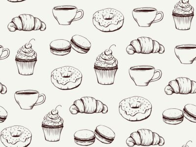 Tapeta Coffee and sweets handdrawn pattern