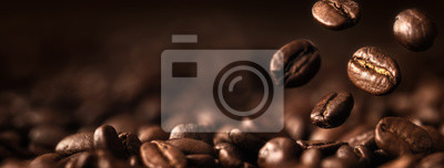 Tapeta Coffee Beans Closeup On Dark Background