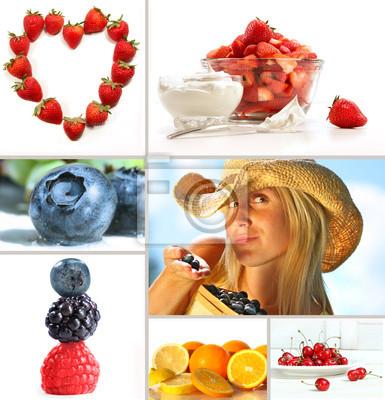 Collage świeżych letnich owoców na białym