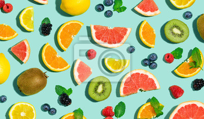 Tapeta Collection of mixed fruits overhead view flat lay