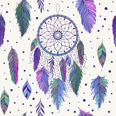 Tapeta Colorful dreamcatchers and feathers seamless pattern