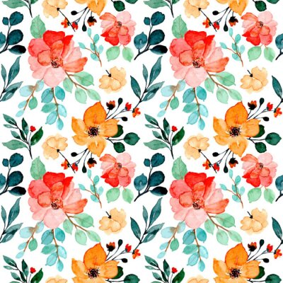 Tapeta colorful floral watercolor seamless pattern