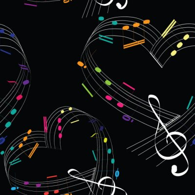 Tapeta Colorful music notes in the shape of the heart.  Seamless pattern. Vector illustration of hearts with colorful music notes on black background.