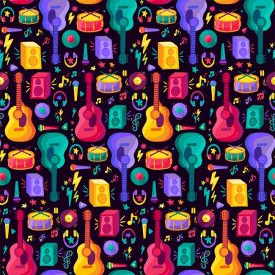 Tapeta Colorful Musical Instrument Flat Seamless Pattern