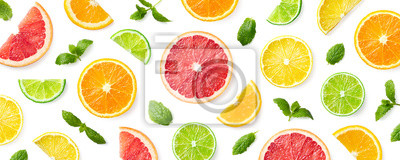 Tapeta Colorful pattern of citrus fruit slices and mint leaves