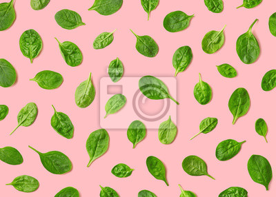 Colorful pattern of fresh spinach leaves