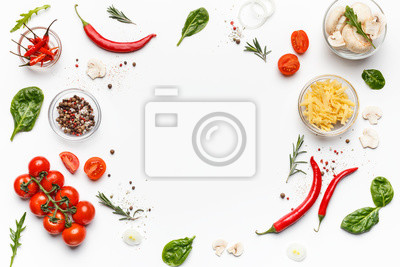 Tapeta Colorful pizza ingredients on white background, top view