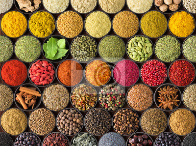 Tapeta colorful spice background, top view.  seasonings and herbs for European food
