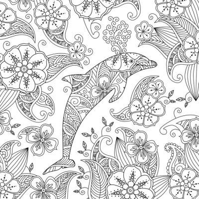 Tapeta Coloring strona z jednym skoki delfinów na tle kwiatów.