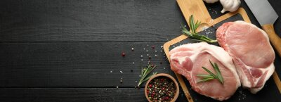 Tapeta Composition with raw meat for steak and spices on wooden background