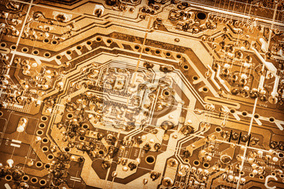 Tapeta Computer Electronic Microcircuit Motherboard Detail Gold Colored Monochrome Vignette Background