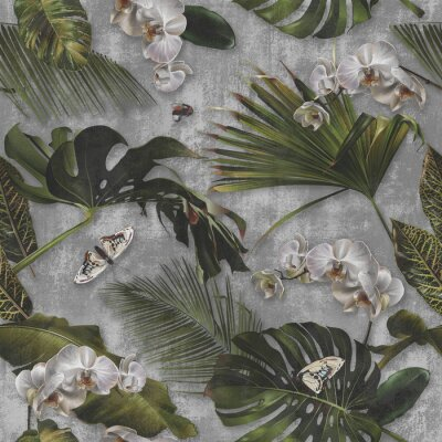 Tapeta Concrete wallpaper, palm leaves and orchid flower