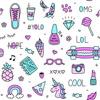 Tapeta Cool teenager girl stuff and words seamless pattern drawing