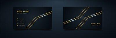 Tapeta Corporate business card with elegant design. Golden lines shiny vector illustration template.