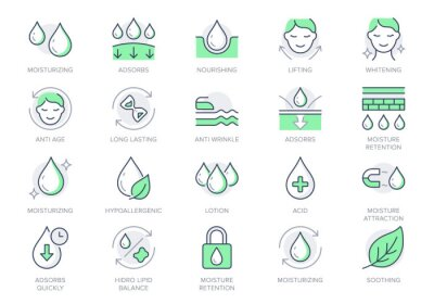Tapeta Cosmetic properties line icons. Vector illustration include icon - cream, body lotion, lifting, moisture, anti wrinkle outline pictogram for skincare product. Green color, Editable Stroke
