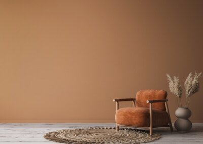 Tapeta Cozy home interior with wooden furniture on brown background, empty wall mockup in boho decoration, 3d render