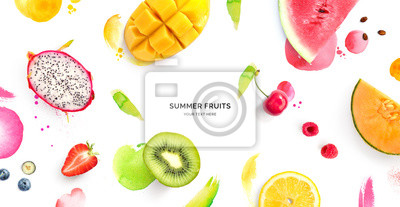 Tapeta Creative layout made of dragonfruit, melon, watermelon, cherry, kiwi, strawberry, mango on the watercolor background. Flat lay. Food concept.