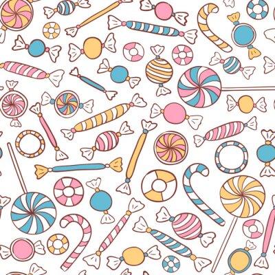 Tapeta Cukierki Seamless Pattern Wyciągnąć rękę
