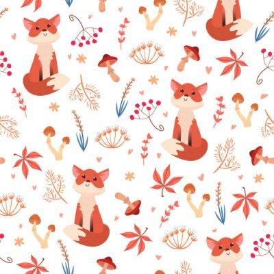 Tapeta Cute bez szwu deseń z lisa w lesie