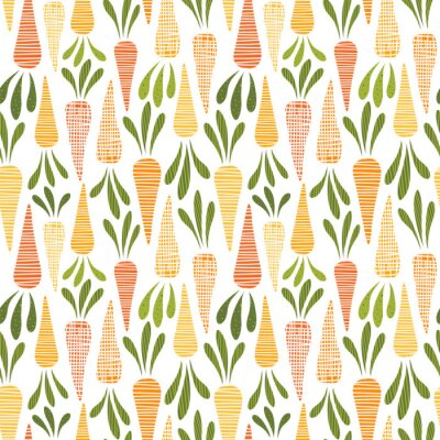 Tapeta Cute carrots. Seamless vector pattern with carrot.
