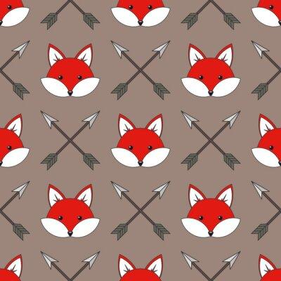 Tapeta Cute cartoon foxes, Vector bez szwu deseń z lisy twarze i strzałki