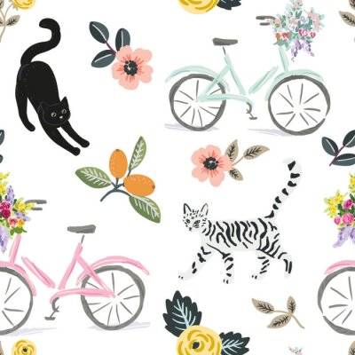 Tapeta Cute cats, bikes and floral elements, white background. Vector seamless pattern. Pets and flowers. Nature print. Digital illustration with animals