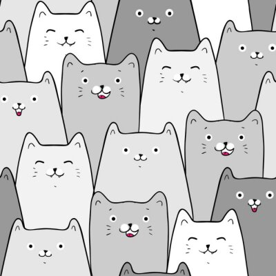Tapeta Cute cats, colorful seamless pattern background with cats