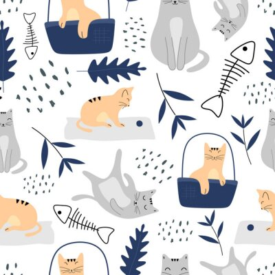 Tapeta Cute cats seamless pattern with funny animal pastel colors. Vector illustration hand drawn childish drawing scandinavian style for fashion textile print.