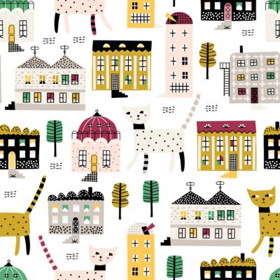 Tapeta Cute childish seamless pattern with old buildings and cute cats. Good for kids fabric, textile, nursery wallpaper. Seamless city landscape. Funny cats walk around the city. Kids pattern.