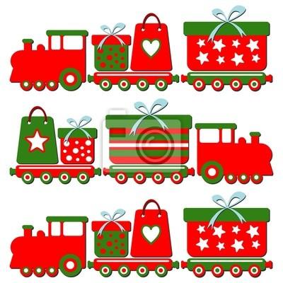 Cute christmas pociąg z pudełka, ilustracji wektorowych