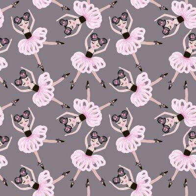 Tapeta Cute dancing ballerina dziewczynki w różowy tutus. Wektor bez szwu deseń dla dzieci i dzieci tapety, tkaniny, plakaty i odciski odzieży. Małe koleżanki w strojach baletowych.