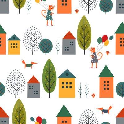 Tapeta Cute domów, kotów, lisów i jesieni bez szwu deseń na białym tle. Skandynawski styl charakteru ilustracji. Jesienny krajobraz z projektowania zwierząt dla tkanin, tapety, tkaniny.