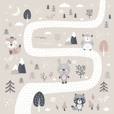 Tapeta Cute hand drawn background in scandinavian style. Road in forest and various doodle wild animals and plants.