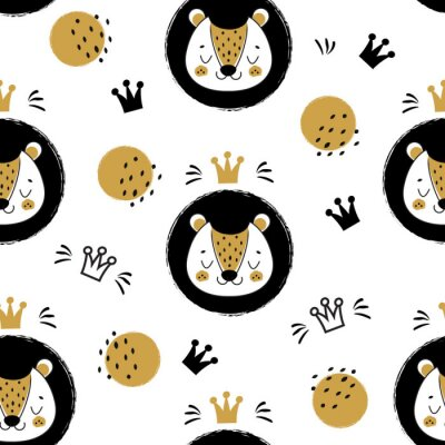 Tapeta Cute lion face and crowns. Seamless pattern, background with cartoon animal in scandinavian style
