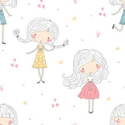 Tapeta cute little girl wektor wzór ilustracji