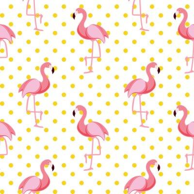 Tapeta Cute Seamless Flamingo Wzorzec Ilustracji Wektorowych