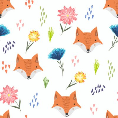 Tapeta Cute seamless pattern with cartoon orange foxes, colorful dots and childish flowers. Funny summer hand drawn foxy texture for kids design, wallpaper, textile, wrapping paper