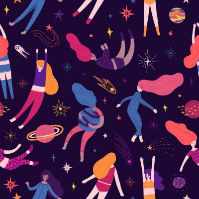 Tapeta Cute Seamless pattern with space elements and pretty women. Cartoon style wallpaper with sleeping fly girl, comets, planets, and cosmic stars. Children's background with hand-drawn galaxy. Vector