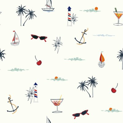 Tapeta Cute Vector is seamless and repeatable. Tropical summer elements print Wallpaper with nature beach island mood on white background,