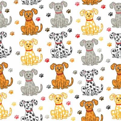 Tapeta Cute wektora psów szwu. Zabawna tapeta doodle.