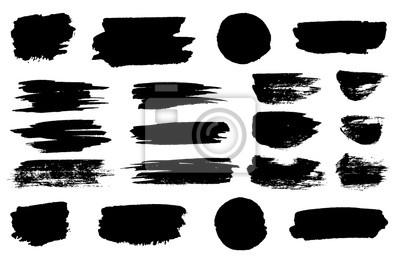 Tapeta Czarne plamy pędzla, linie zakreślacza lub pisaki poziome. Pisak znakujący lub pociągnięcia pędzlem i myślniki. Atrament plama abstrakcyjny kształt plamy i rozmaz zestaw z teksturą
