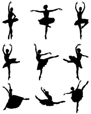 Tapeta Czarne sylwetki baletnic na białym tle, wektor