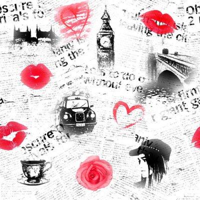 Tapeta Czarny biały i czerwony Londyński tło