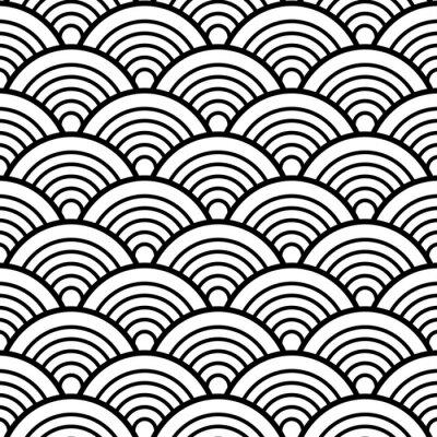 Tapeta Czarny Biały Tradycyjne Wave Japoński Chiński Seigaiha Wzór tle ilustracji wektorowych