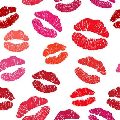 Tapeta Czerwona szminka Kiss bez szwu wzór