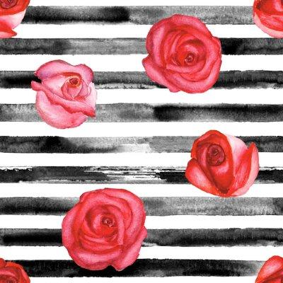 Tapeta Czerwone róże i czarne paski