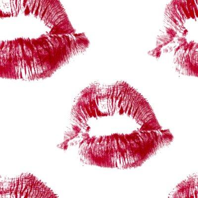 Tapeta czerwone usta bezszwowe wzór wektora na bia? ym tle