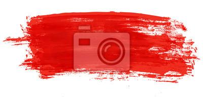 Tapeta Czerwony pociągnięcie pędzlem akwarela na białym tle