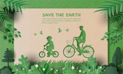 Tapeta Dad and son enjoy riding bikes in green city, save the planet and energy concept, paper illustration, and 3d paper.